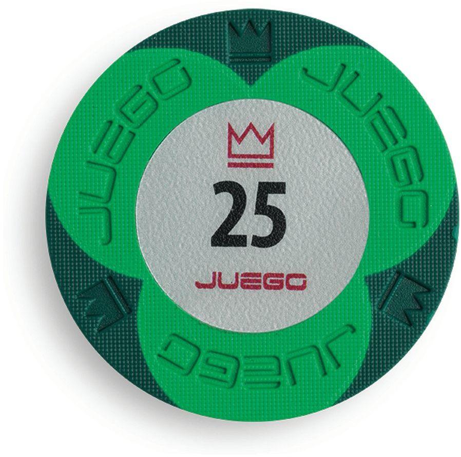 Juego JU00133 100 impregnowanych żetonów do pokera zestaw tunierów 25, gra towarzyska - zielona