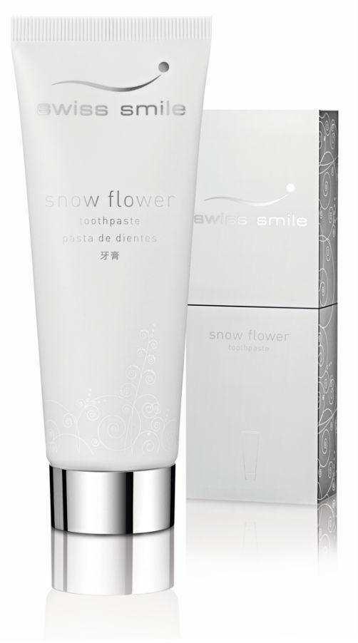 SWISS SMILE Snow Flower 75ml (E183) wybielająca pasta do zębów bez fluoru usuwająca trwałe przebarwienia