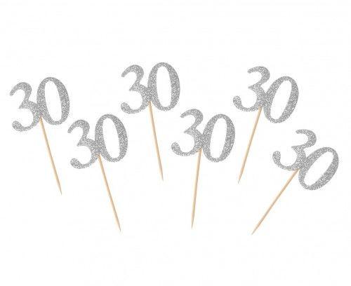 Toppery, dekoracja tortu 30 urodziny, cyfra srebrna