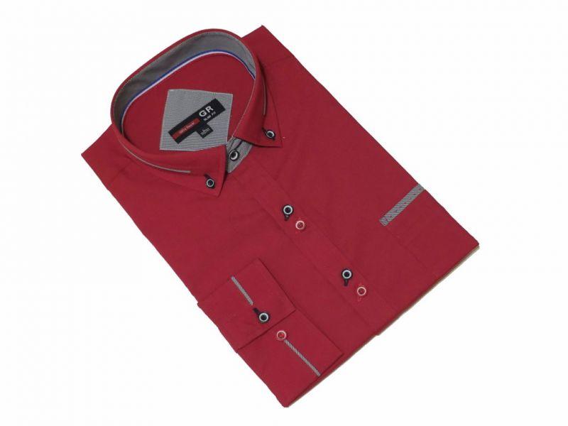 Elegancka koszula męska czerwona slim kolorowe wykończenia