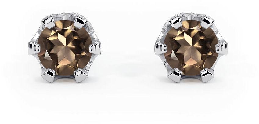 Kuźnia Srebra - Kolczyki srebrne sztyft, 15mm, Kwarc Dymny, 2g, model