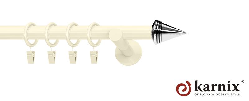 Karnisze nowoczesne NEO pojedynczy 19mm Stożek ivory (kość słoniowa)