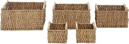 Premier Housewares Kosze do przechowywania do hiacyntu wodnego, 5 sztuk, żelazo, drewno, naturalne, 36 x 51 x 27