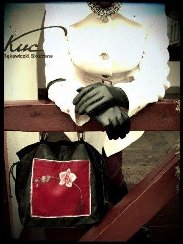 Damskie eleganckie rękawiczki skórzane do ekranów dotykowych - rękawiczki touch screen