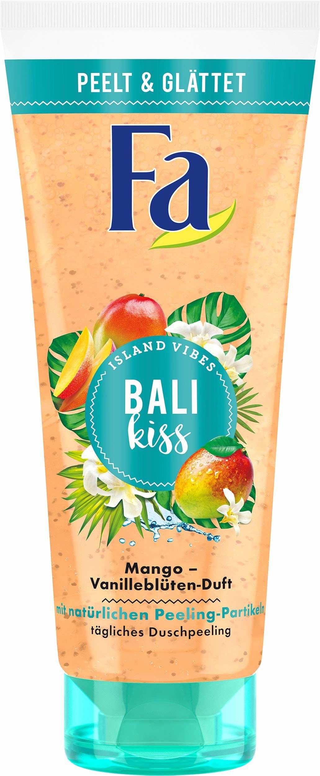FA Island Vibes Bali Kiss peeling pod prysznic o zapachu kwiatów mango i wanilii, 6 sztuk w opakowaniu (6 x 200 ml)