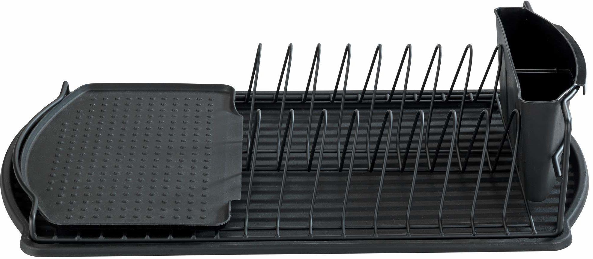 WENKO Ociekacz do naczyń Basic czarny  ociekacz do naczyń, lakierowany proszkowo metal, 47,5 x 11 x 26,5 cm, czarny