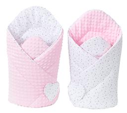 MAMO-TATO Rożek niemowlęcy dwustronny minky Mini gwiazdki szare na bieli / jasny róż