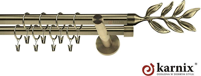 Karnisze nowoczesne NEO podwójny 19/19mm Aldis antyk mosiądz