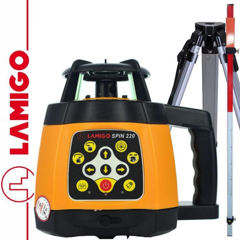 Niwelator laserowy SPIN 220 LAMIGO + Statyw aluminiowy 1,6m + Łata laserowa 2,4m