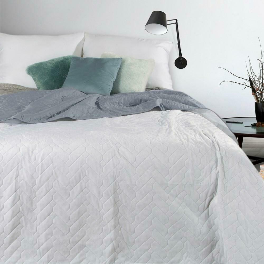 Narzuta dekoracyjna 170x210 Luiz biała srebrna dwustronna