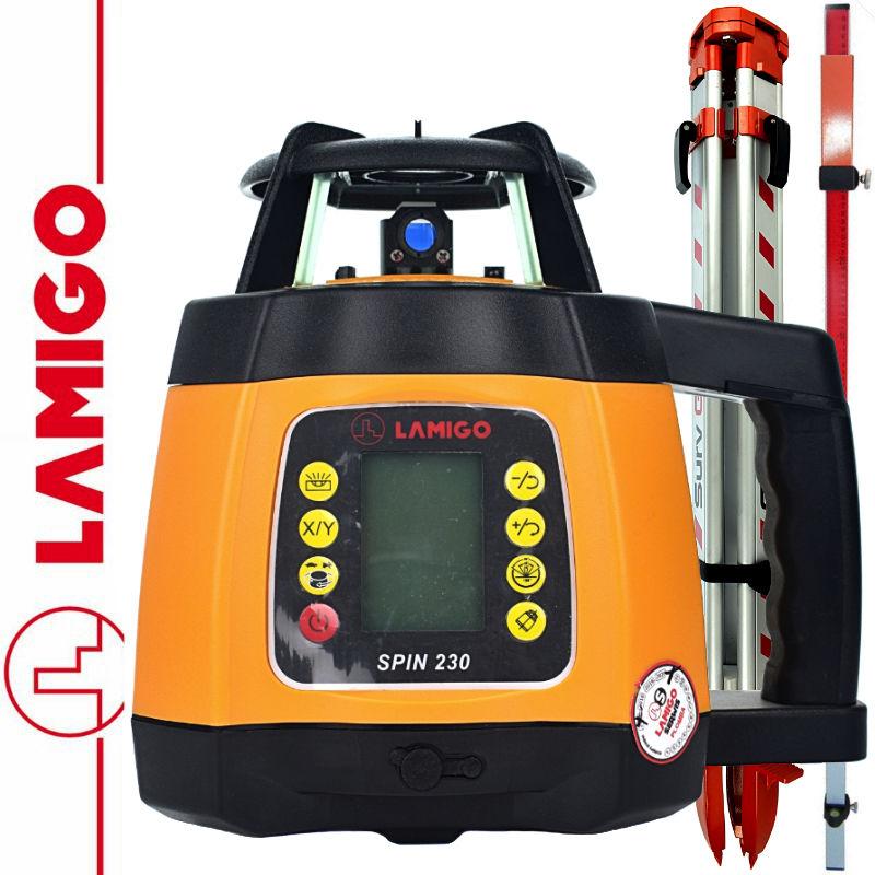 Niwelator laserowy SPIN 230 LAMIGO + Statyw aluminiowy 1,6m + Łata laserowa 2,4m