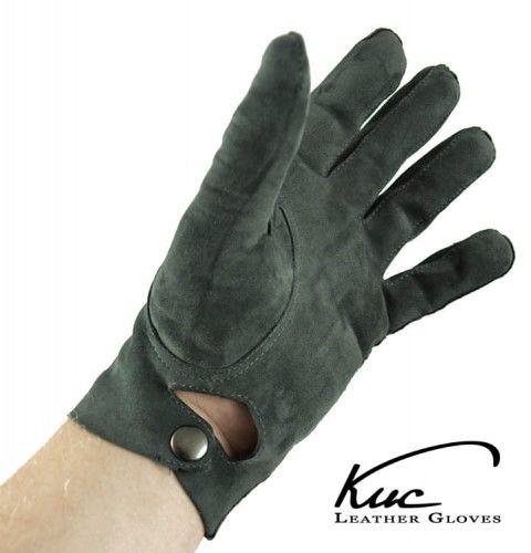 Rękawiczki nieocieplane, oficerki - szare, welurowe