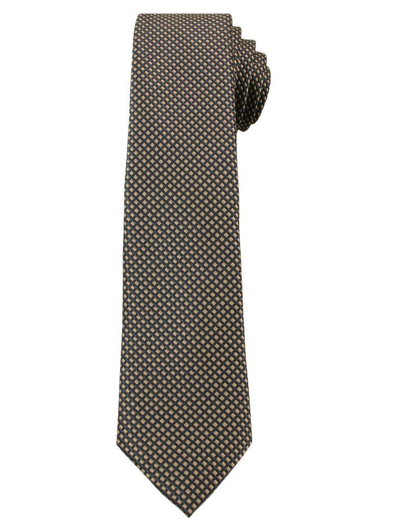 Beżowy Elegancki Krawat Męski -ALTIES- 6 cm, w Drobny Rzucik KRALTS0263
