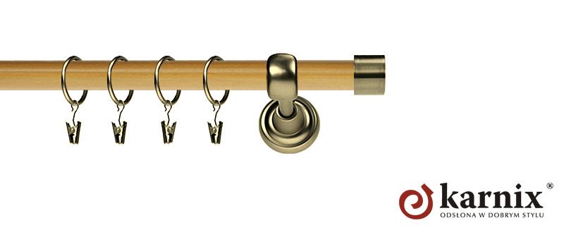 Karnisz Metalowy Prestige pojedynczy 25mm Luna Antyk mosiądz - pinia