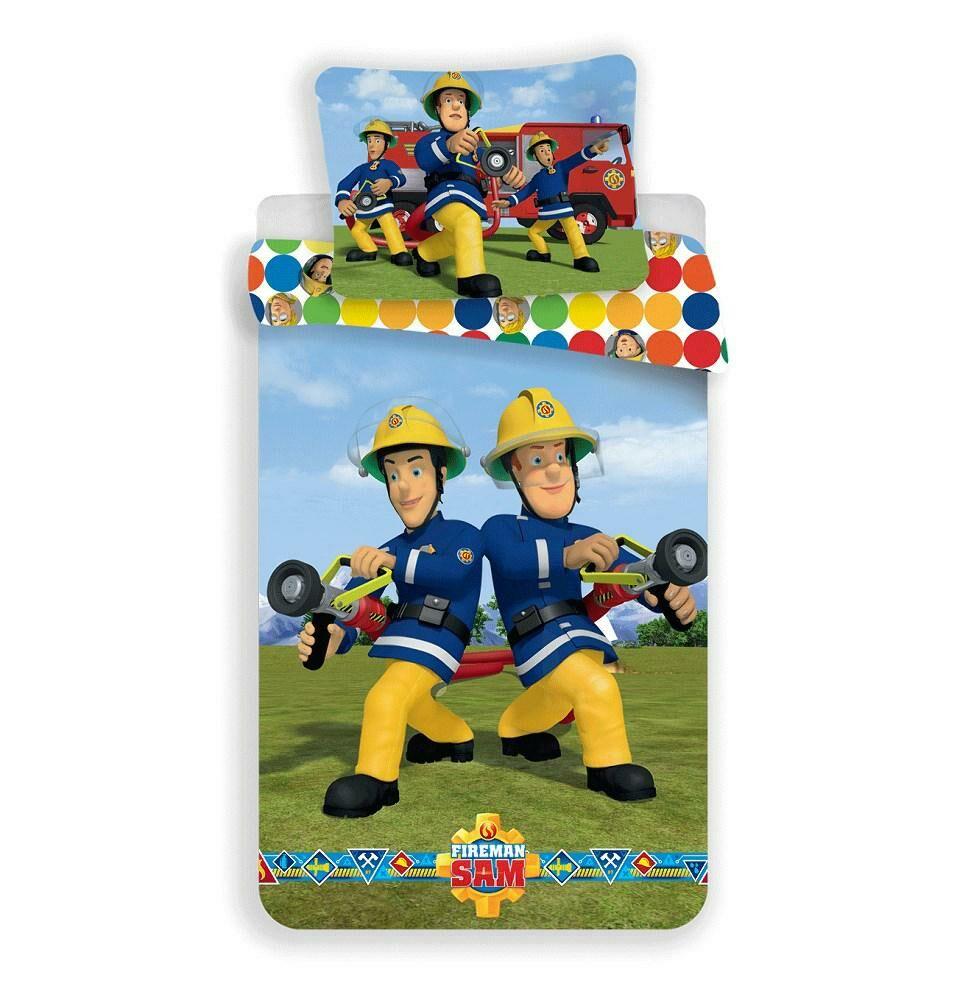Pościel bawełniana 140x200 Strażak Sam 4560 Straż Pożarna akcja strażacy groszki kolorowe poszewka 70x90