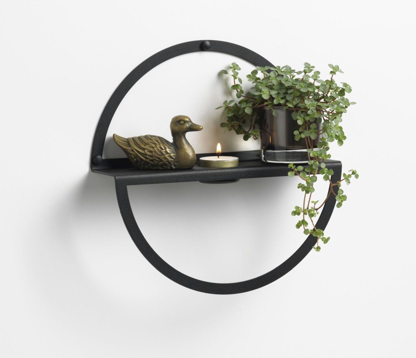 CZARNA metalowa wisząca półka na dekoracje (okrągła, 25 cm) NAGA (70152)