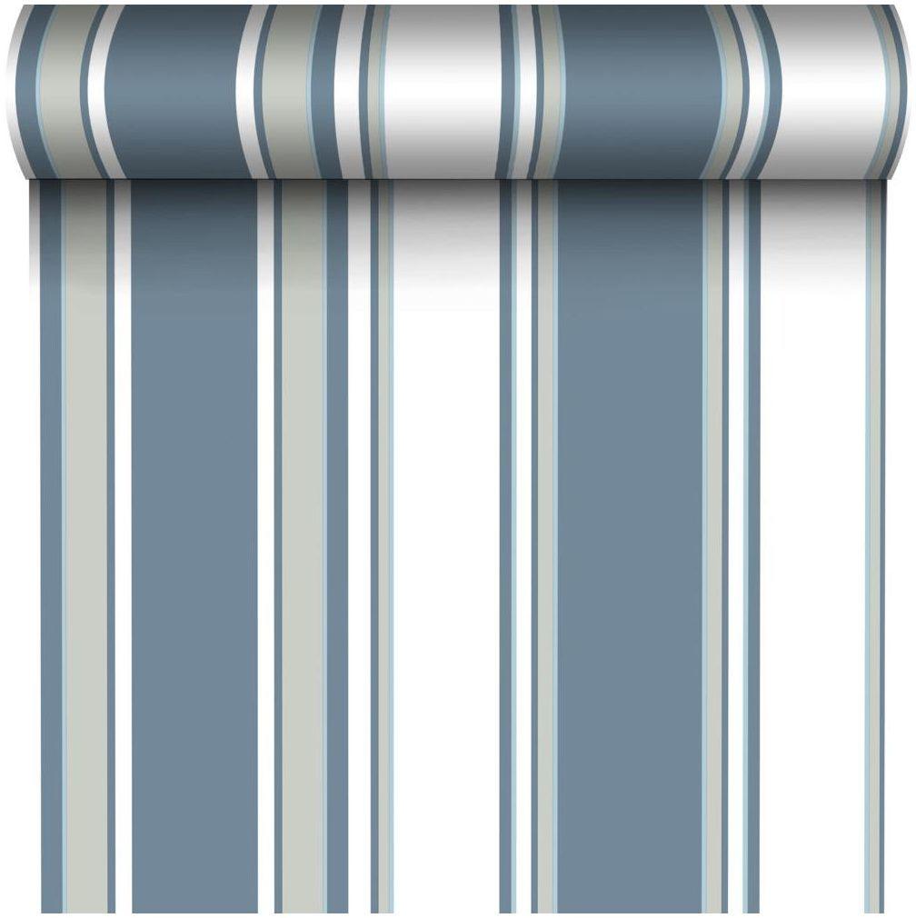 Tapeta w pasy Josephine niebieska winylowa na flizelinie Inspire
