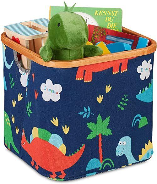 Relaxdays Pudełko do przechowywania dla dzieci, motyw dinozaura, kosz do przechowywania, składany, wymiary: 30,5 x 33,5 x 33,5 cm, niebieski