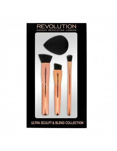 Makeup Revolution Ultra Sculpt & Blend Collection Zestaw 3 pędzli + gąbka do makijażu