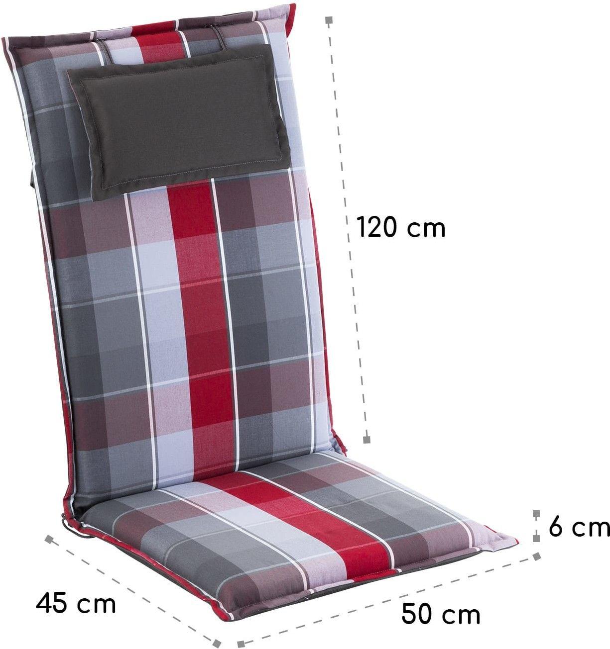Blumfeldt Donau, nakładki na krzesła ogrodowe z wysokim oparciem, poduszki na fotele, poliester, 50x120x6cm