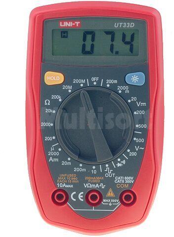Multimetr cyfrowy UNI-T UT33D LCD V DC 200mV...600V V AC 200/500V