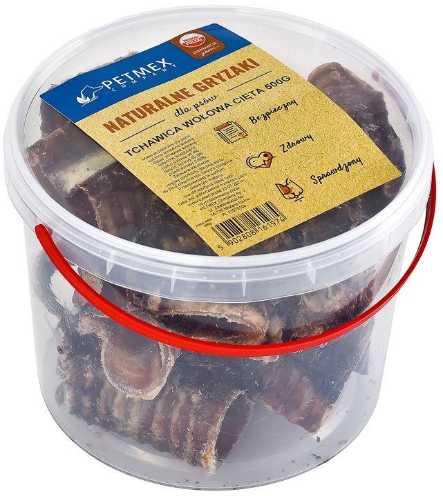 PETMEX  Tchawica wołowa cięta gryzak naturalny wiaderko 500g