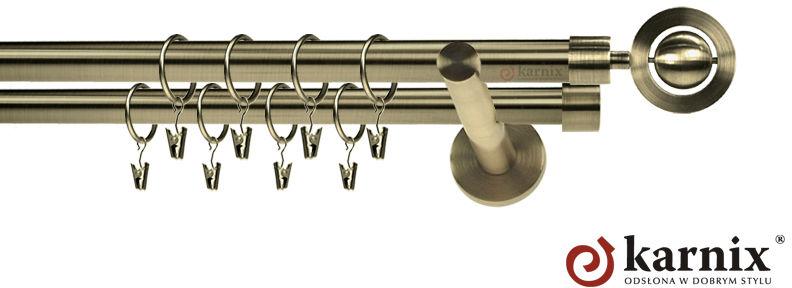 Karnisze nowoczesne NEO podwójny 19/19mm Alpi antyk mosiądz