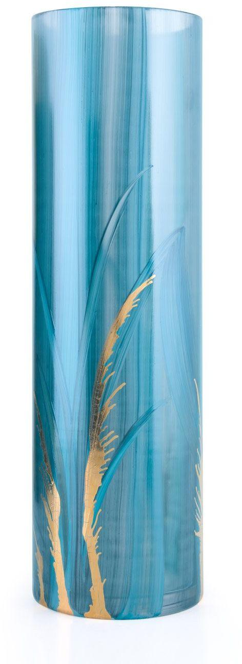 Angela neue Wiener Werkstaette Wazon szklany uszlachetniony cylindryczny, szkło, turkusowy, 10 x 10 x 30 cm