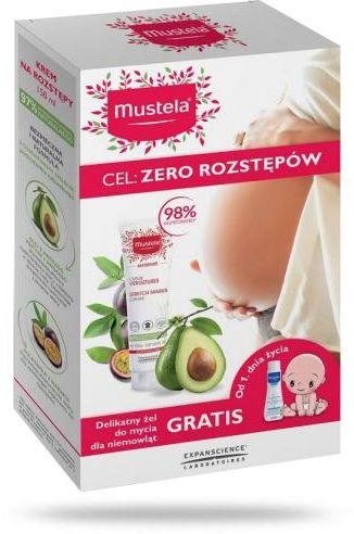 Mustela Maternite krem na rozstępy 3w1 bez zapachu 150 ml + Mustela Bebe Enfant delikatny żel do mycia włosów i ciała 200 ml [ZESTAW]