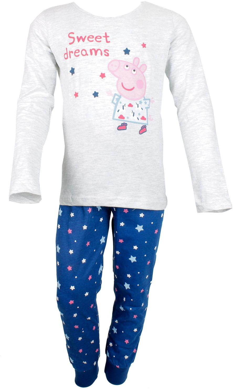 Piżama dla dziewczynki ŚWINKA PEPPA długi rękaw, szara