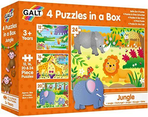 Galt Zabawki, 4 puzzle w pudełku - dżungla, puzzle dla dzieci, w wieku 18 miesięcy plus