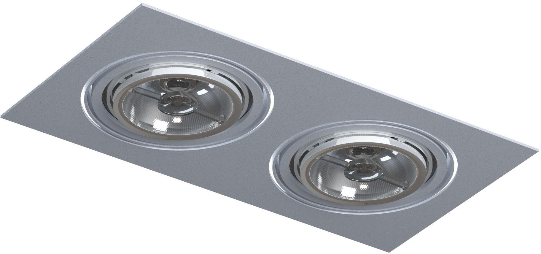 Oczko stropowe podwójna Mara T018E2Bh101 Cleoni oprawa wpuszczana w kolorze aluminium