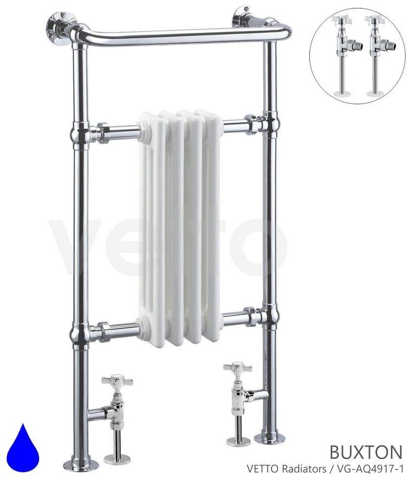 BUXTON H 96x50cm, 417W, zawory, podłączenia. Grzejnik wodny łazienkowy retro, ch/b, mont. p/ś.VETTO
