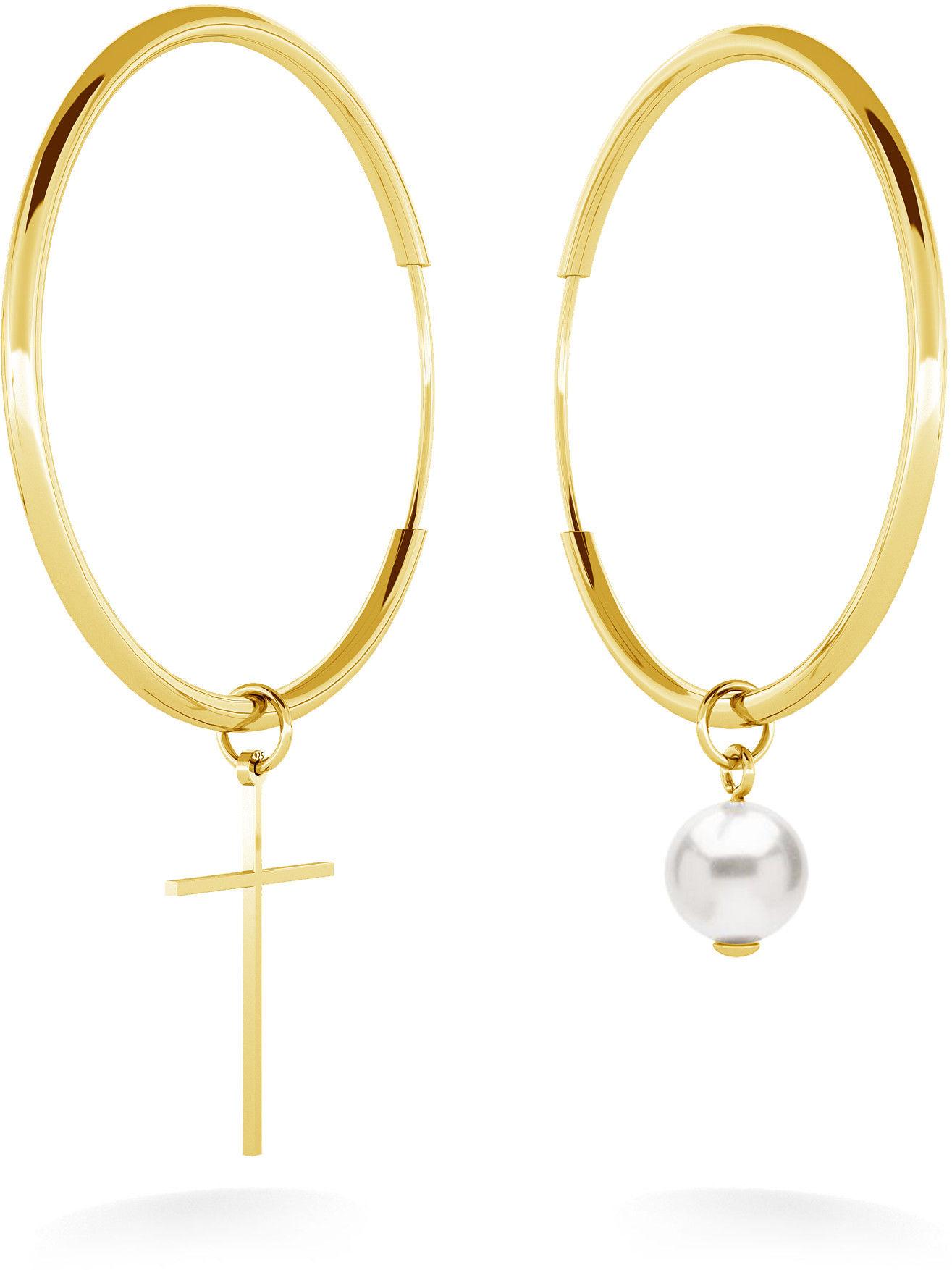 Asymetryczne kolczyki koła 4 cm z białą perłą Swarovski i krzyżykiem, srebro 925 : Srebro - kolor pokrycia - Pokrycie żółtym 18K złotem