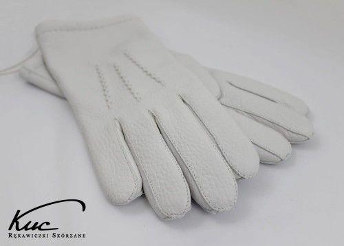 Ciepłe rękawiczki ze skóry z jelenia - białe rękawiczki - wkład kaszmirowy