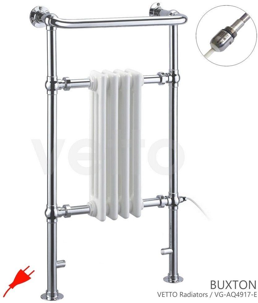 BUXTON H 96x50cm, 300W elektryczny. Grzejnik łazienkowy retro, chrom/biel. Montaż śc./podłoga VETTO