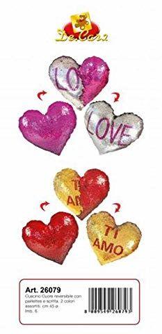 Decar 2 poduszki serce z cekinami, 45 cm, artykuł na prezent, wielokolorowy, 8009549260793