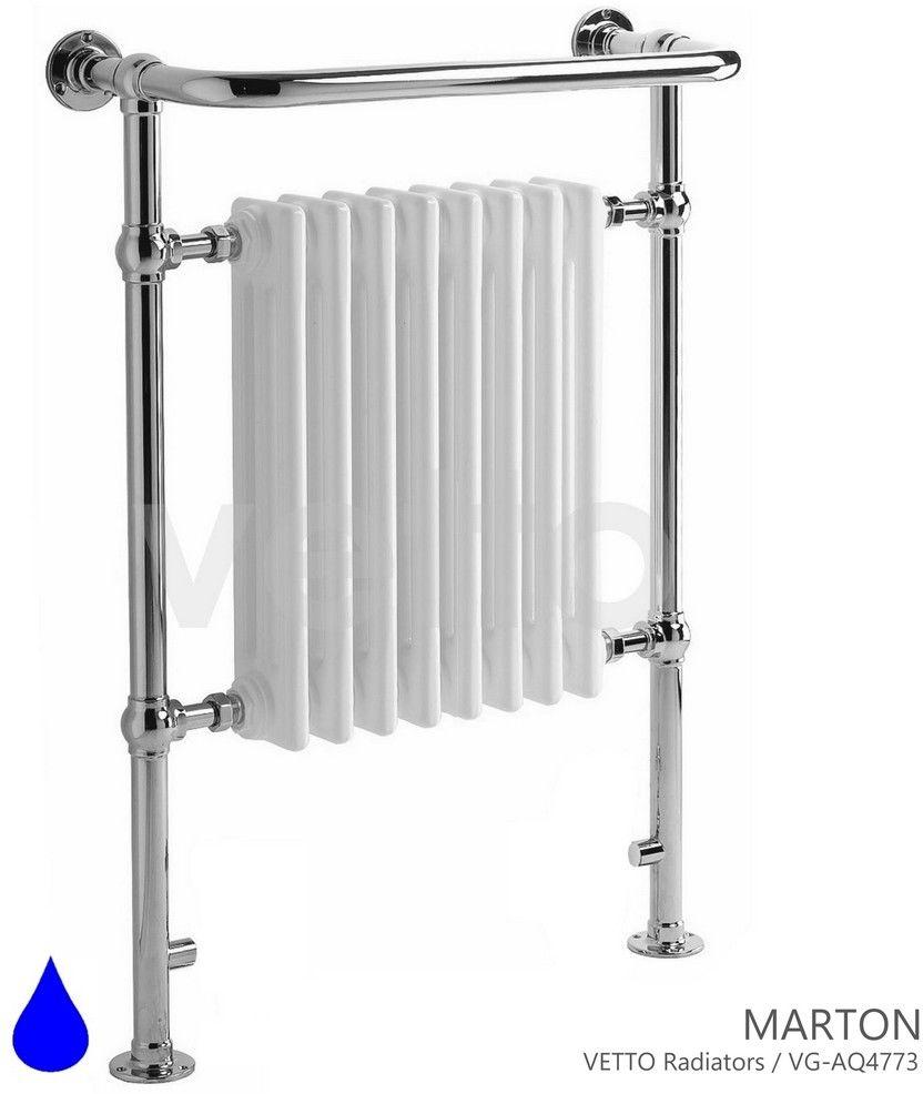 MARTON H 96x69cm, 595W. Grzejnik wodny, łazienkowy retro, chrom/biel, montaż podłoga/ściana VETTO