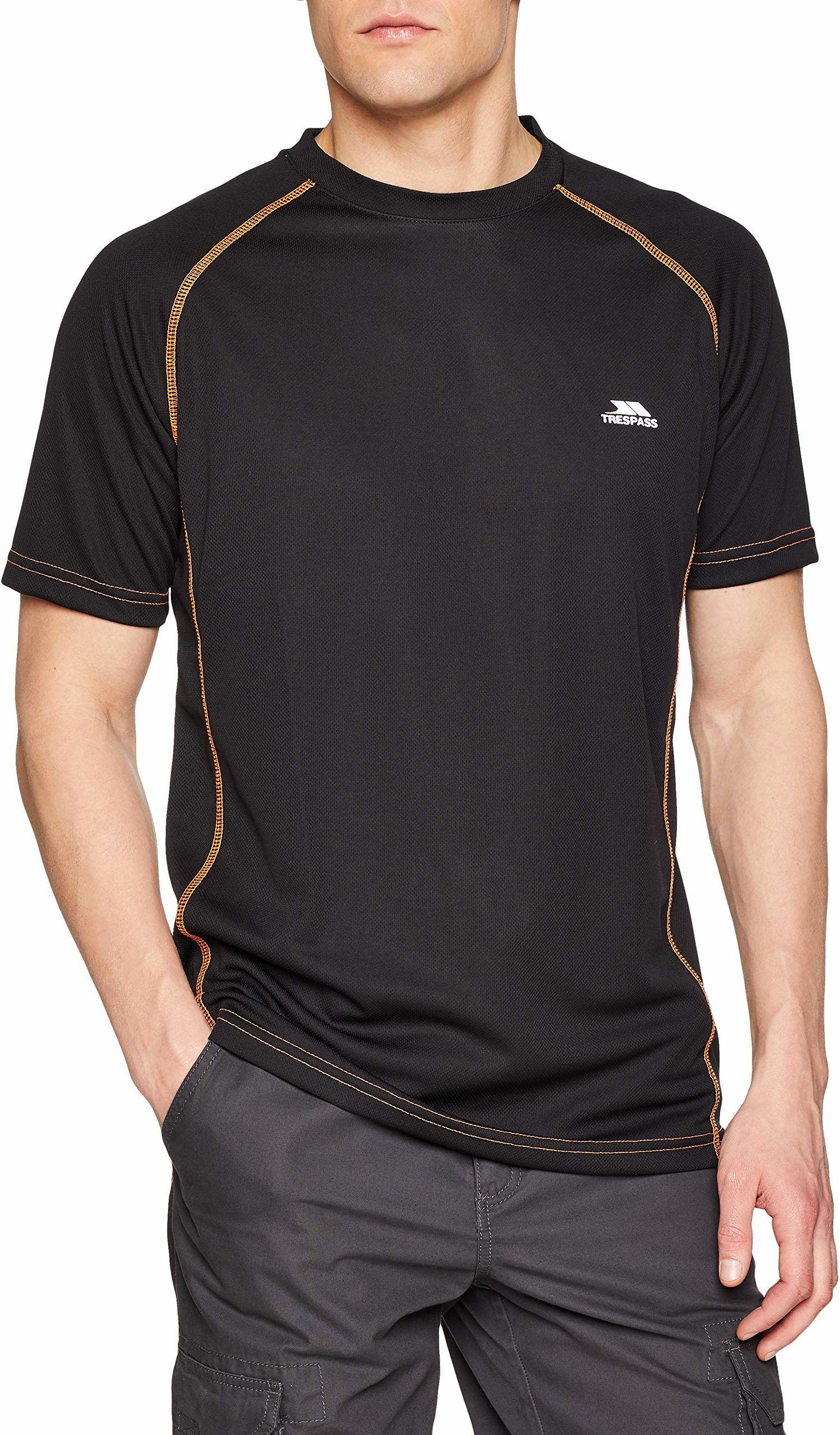 Trespass męski t-shirt z krótkim rękawem Ethen szybkoschnący Black Shocking Orange XXS