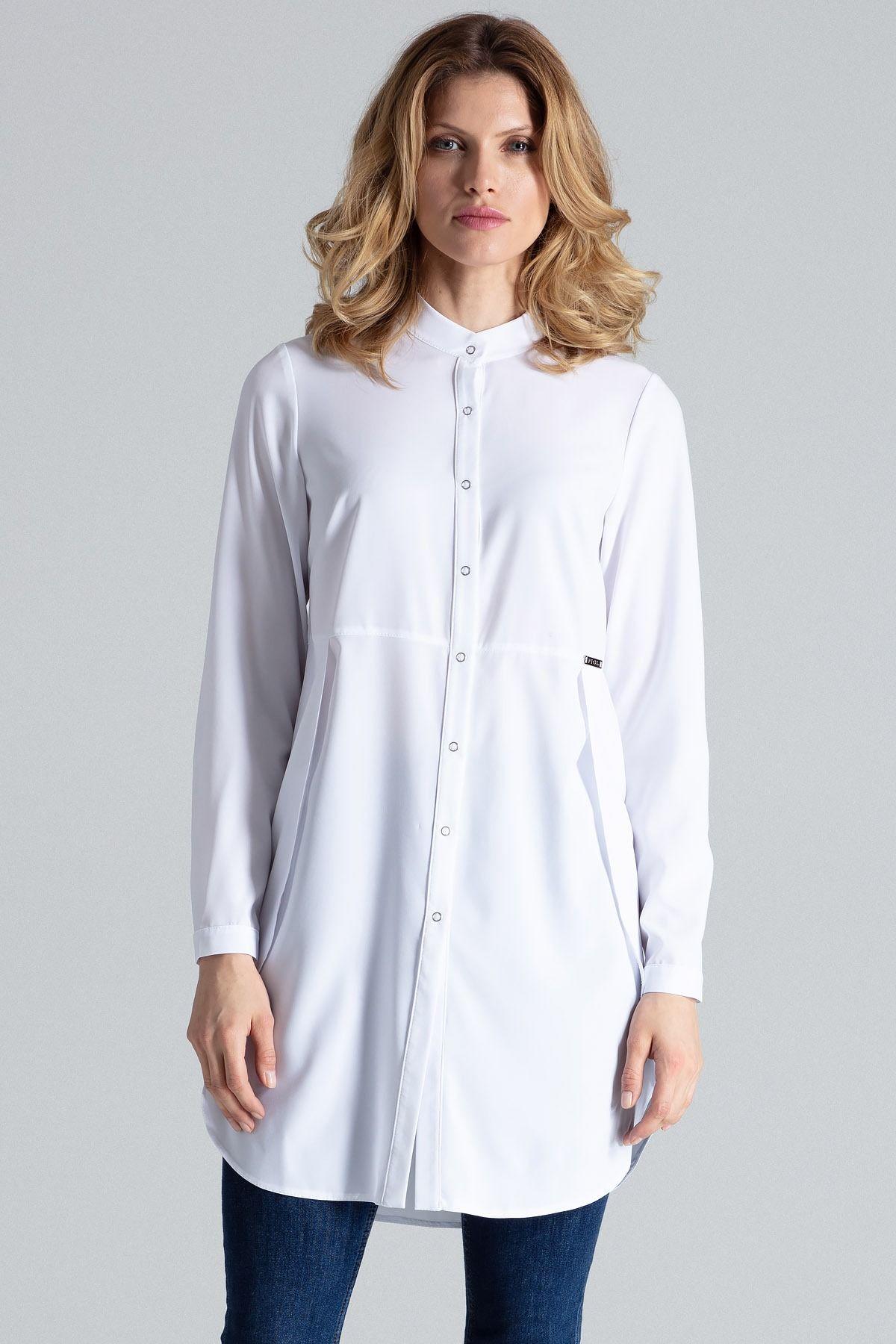 Biała koszula -tunika zapinana na zatrzaski