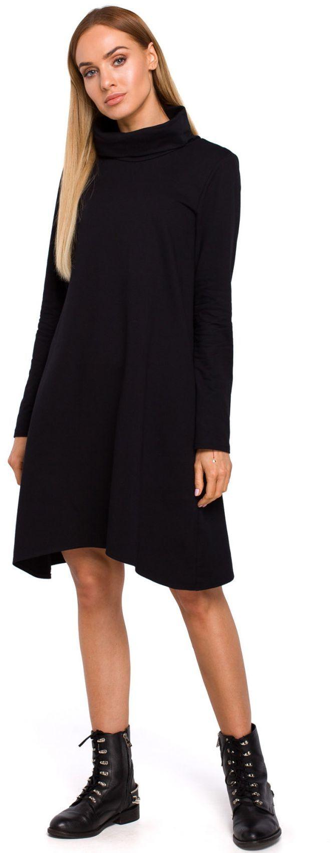 M480 Sukienka trapezowa z golfem - czarna