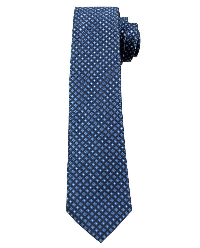 Granatowy Elegancki Krawat Męski w Drobny Niebieskie Kwiatki -ALTIES- 6 cm, Motyw Florystyczny KRALTS0261
