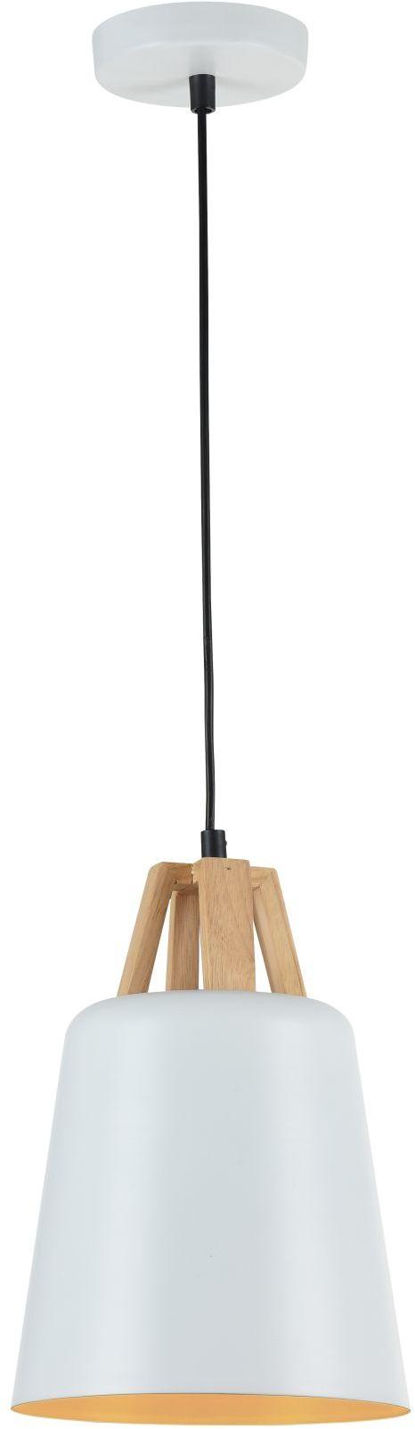 Maytoni Cup P019-PL-01-W lampa wisząca matowy biały metalowy klosz drewniany dekor regulowana wysokość 1XE27 60W 19cm