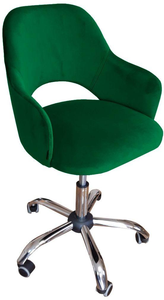 Fotel IZMA VELVET zielony biurowy tapicerowany aksamitem  KUP TERAZ - OTRZYMAJ RABAT