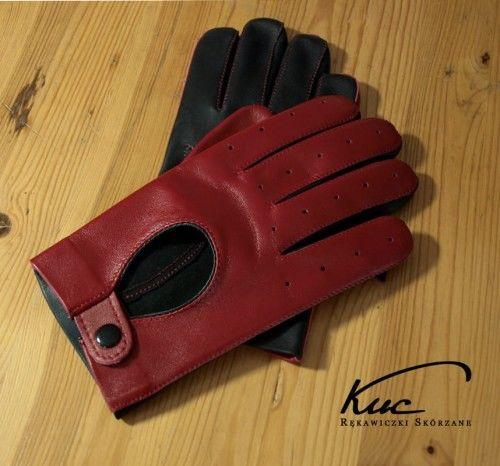 Rękawiczki skórzane, samochodowe męskie, czerwono-czarne