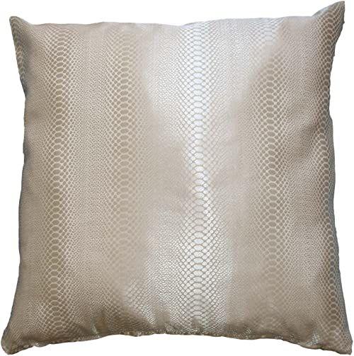 Bel Air Python 0199987-0004 żakardowa poduszka, nadruk węża, błyszcząca, z zamkiem błyskawicznym, 40 x 40 cm, kolor perłowy