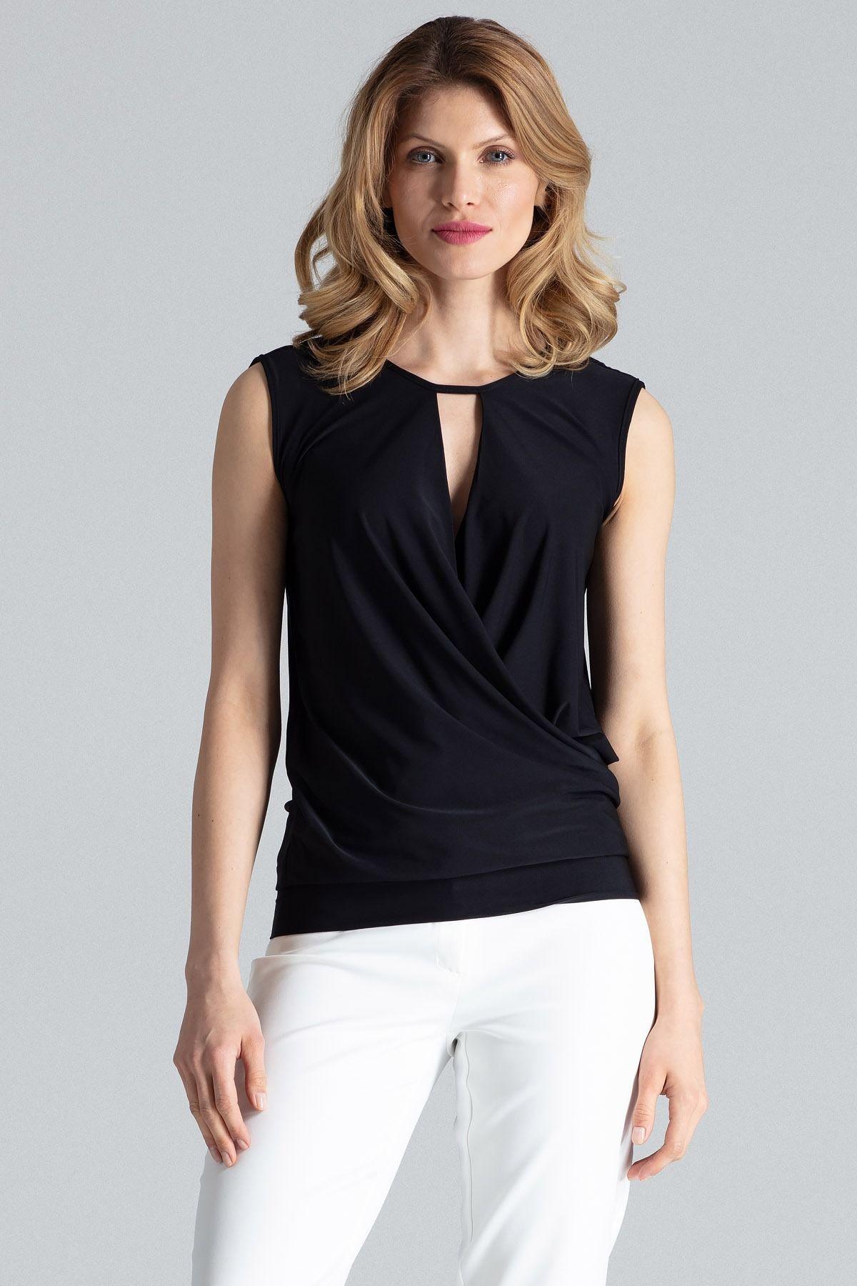 Czarna kopertowa kobieca bluzka bez rękawów