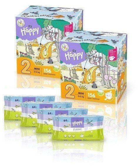 2x Bella Happy Rozmiar 2,156 szt, 4x Chusteczki 64