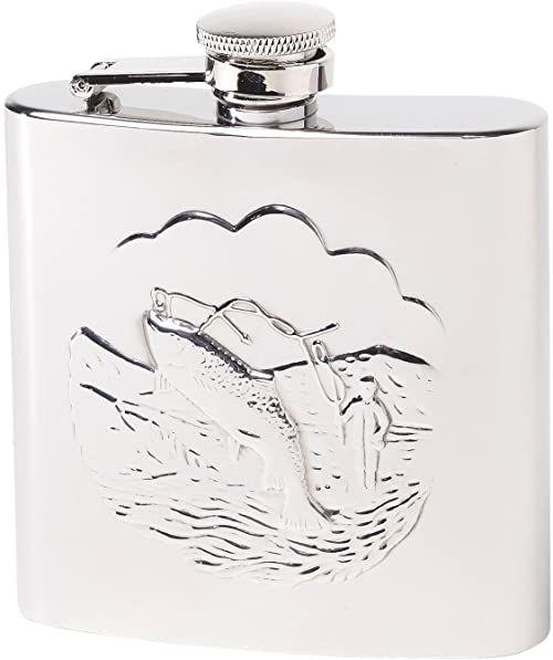 Herbertz Męska butelka kieszonkowa ze stali nierdzewnej z motywem wędkarza, piersiówka, srebro, 177 ml