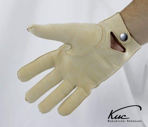 Męskie rękawiczki irchowe - model z zapięciem w nadgarstku